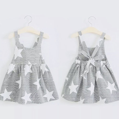 Girls Grey Star Dress