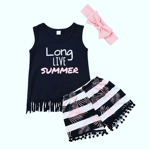 Girls Long Live Summer Shorts Set