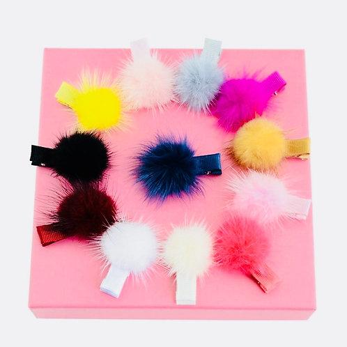 Small Pom Pom Hair clips