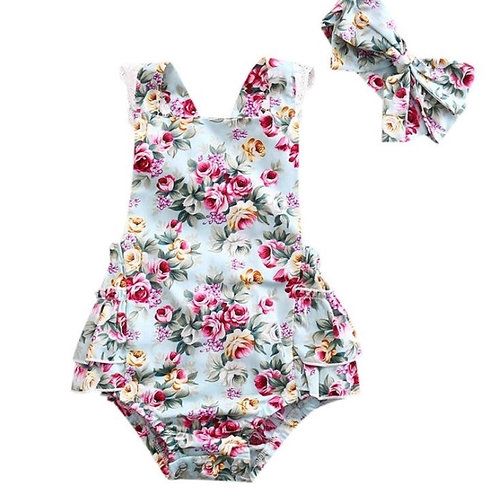 Girls Backless Floral Romper