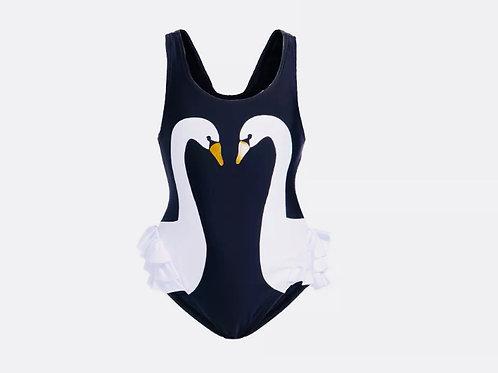Girls Swan Swimming Costume
