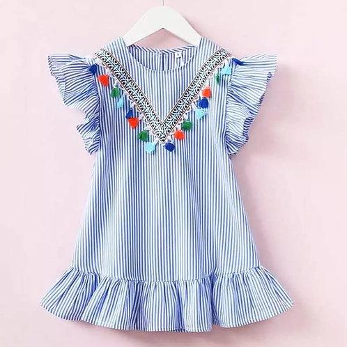 Girls Striped Blue Tassel Dress