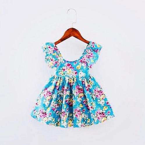 Girls Floral Blue Dress