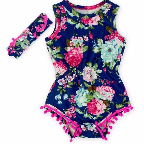 Girls Navy Floral Pom Playsuit