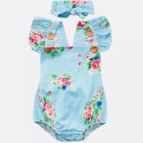 Girls Blue Floral Romper