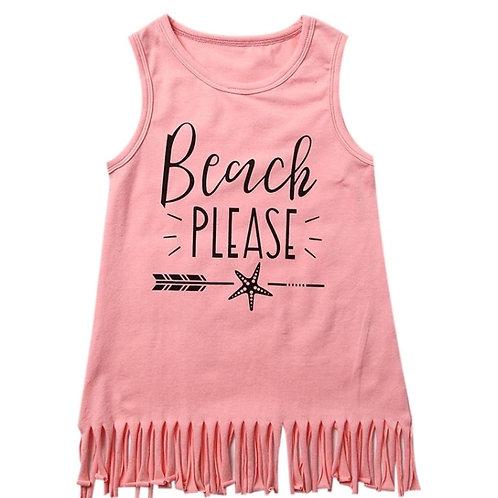 Girls Pink Beach Tassel Dress