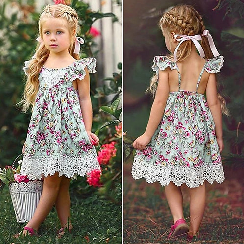 Girls Lace Floral Dress