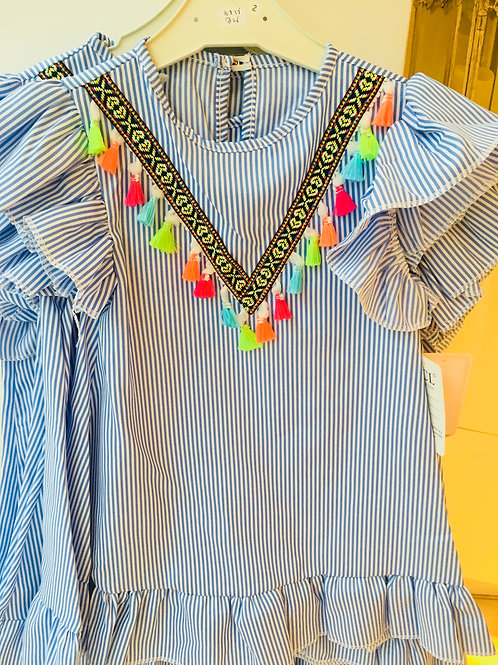 Girls Blue Stripe Tassel Dress