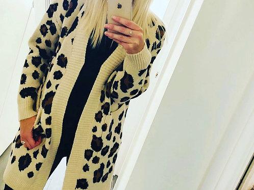 Ladies Leopard Print Cardigan