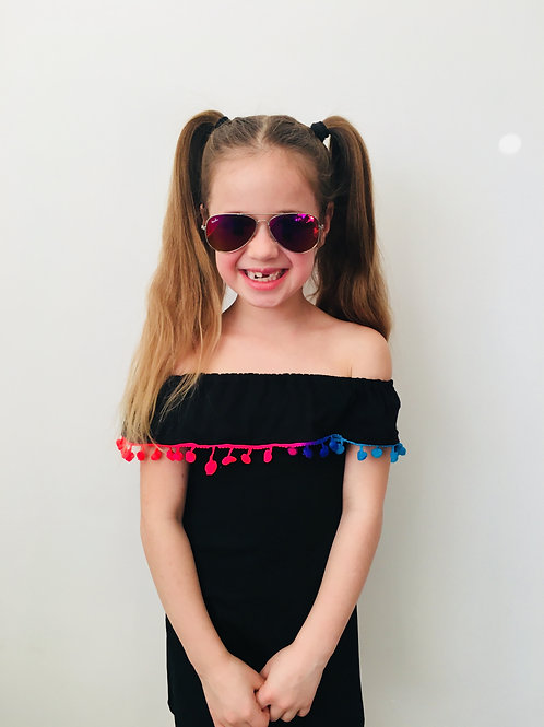 Girls Black Pom Pom Dress