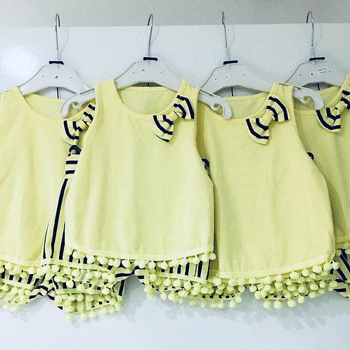 Baby Girl Lemon Pom Shorts set