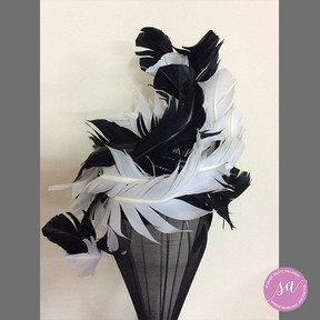 BLACK WHITE FEATHERS hat
