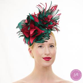 Raspberry Floral hat