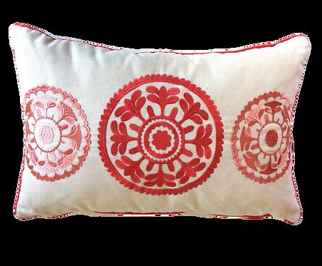 Cream & Orange Cushion with Orange Embroidery