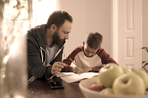Parents helping with home schooling