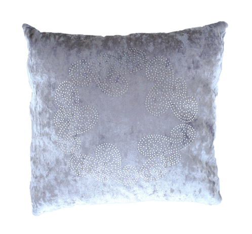 Grey Velour Cushion with Bling