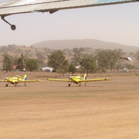 Boonah airfield bushfire bombers.JPG