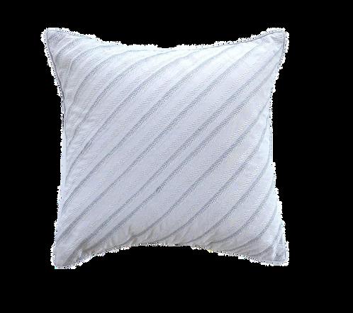 Grey & Silver Diagonal Stripe Cushion