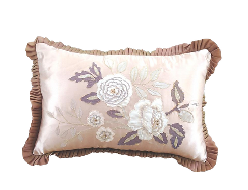 Rose Satin Cushion with Embroidery