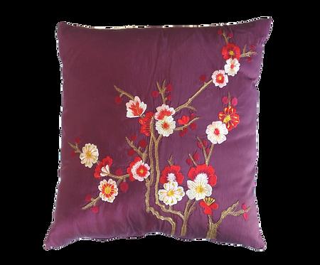 Purple Embroidered Cushion