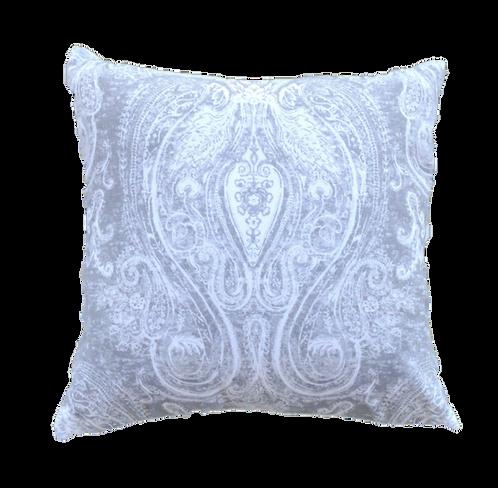 Grey & White Paisley Square Cushion