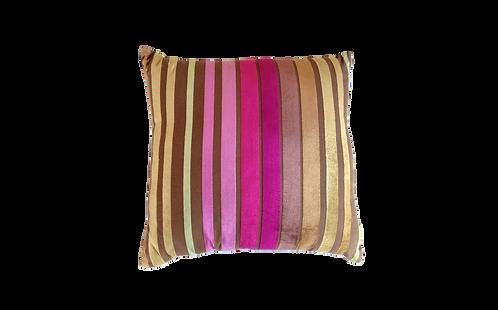Chocolate & Pink Velour Striped Cushion