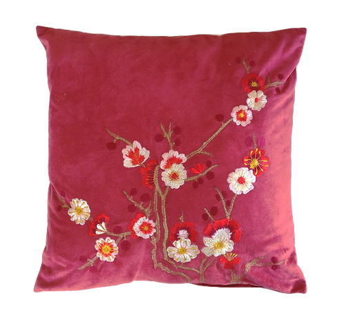 Rust Embroidered Cushion