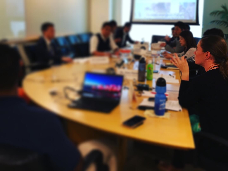 Informal simultaneous interpretation for an international delegation.