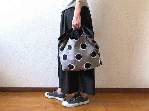 くたくたBag   グレー&ブラック 【ハンドルステッチ3本】