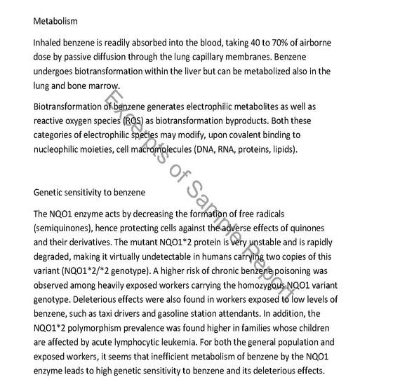 General information Benzene