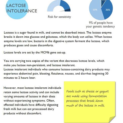Lactose tolerance- Nutrigenetic analysis