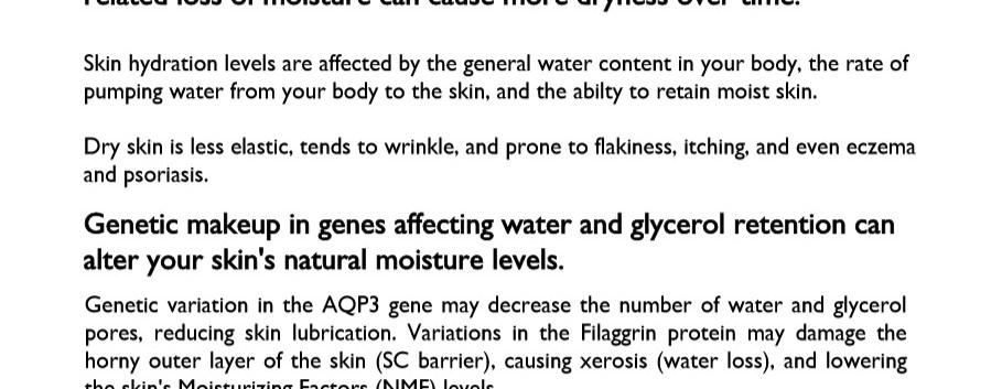 Skin Hydration 2 Test Genetic Analysis