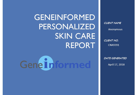 Skin Genes Personalized Skin Care GeneInformed Report