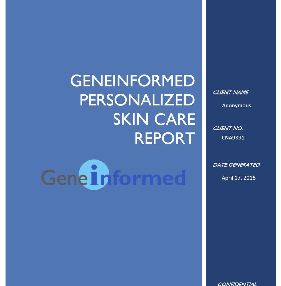 Skin Genes Personalized Skin Care GeneInformed Report