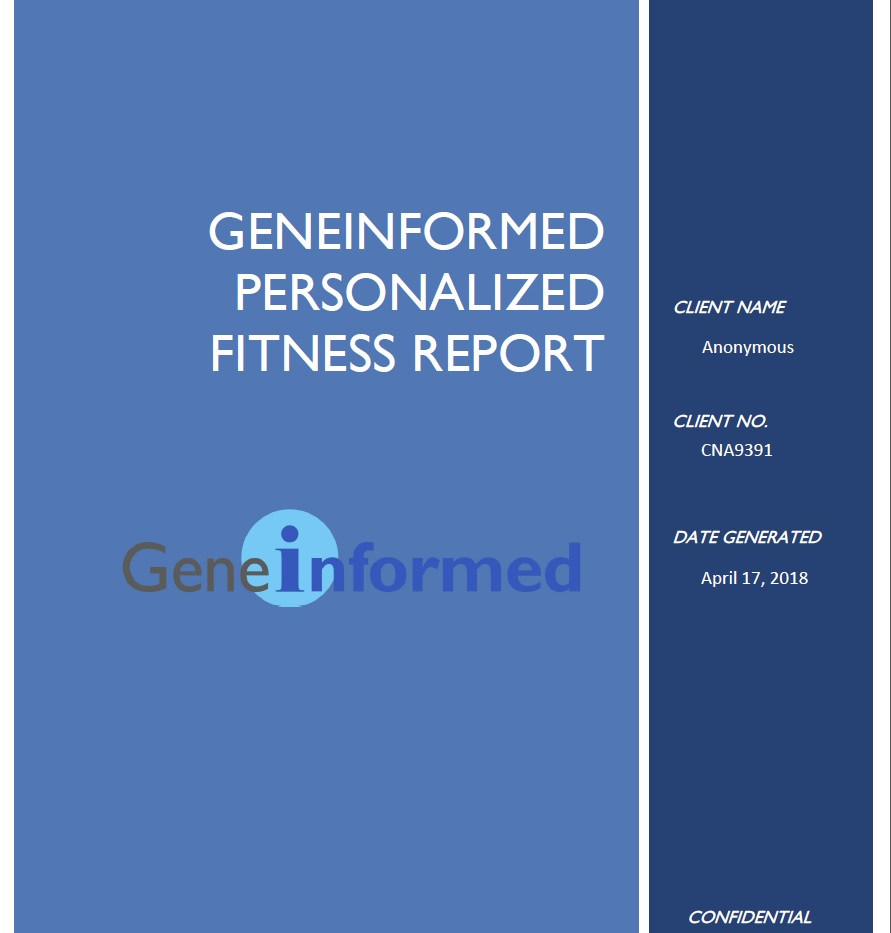 Personalized Fitness Report cover page