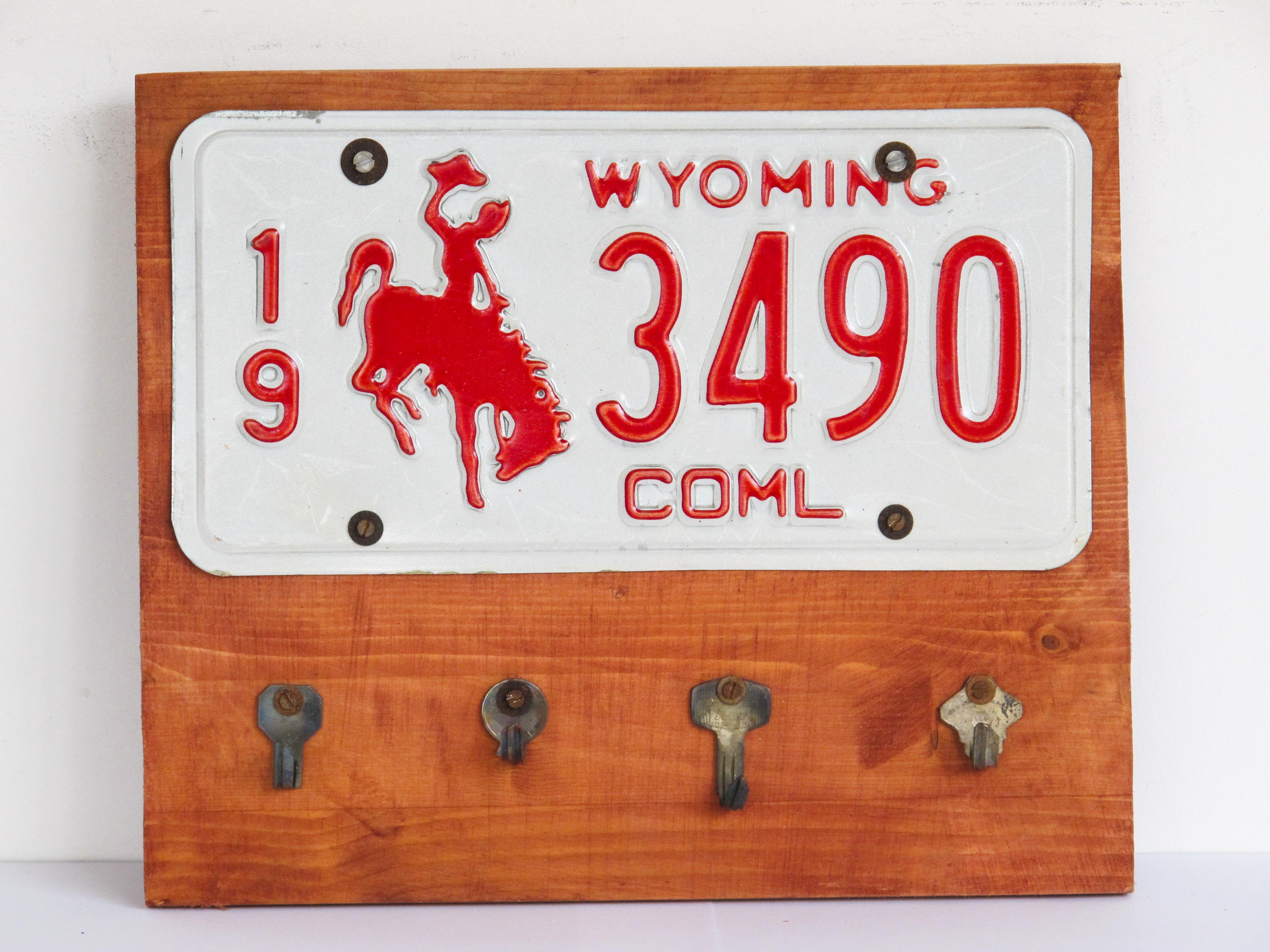 key hanger wyoming usa plate