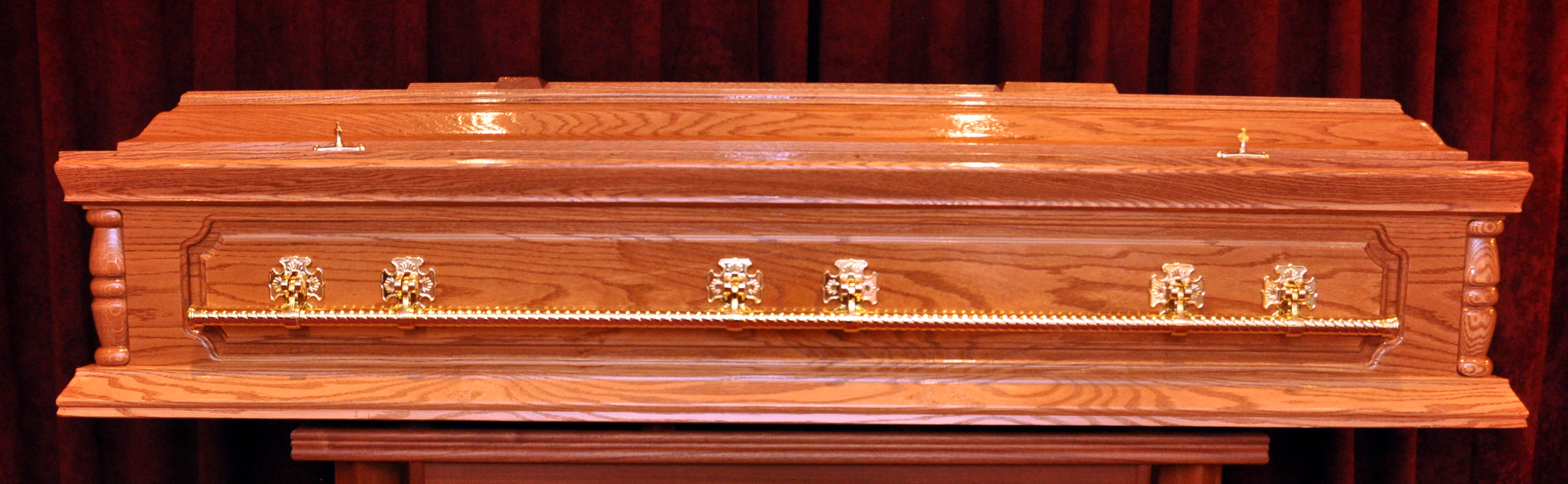 Solid oak long bar casket