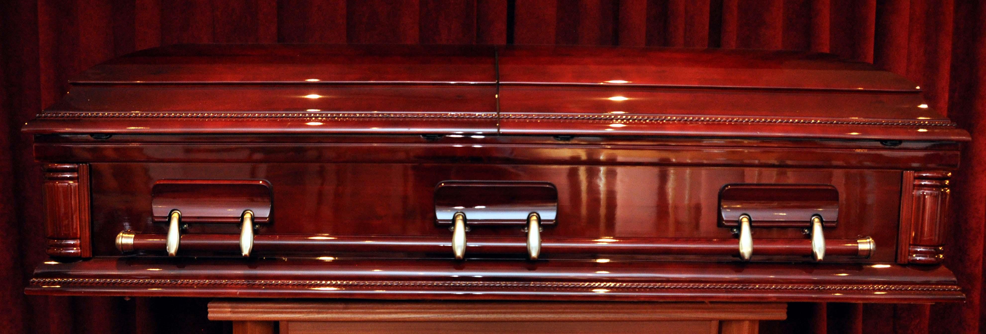 Solid mahogany American casket