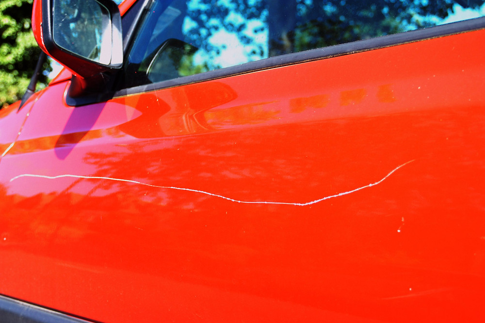 scratch on car