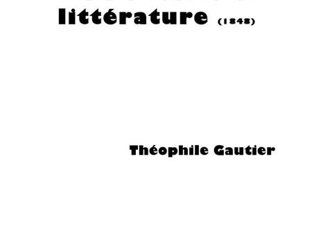 """""""De l'obésité en littérature"""", par Théophile Gautier"""