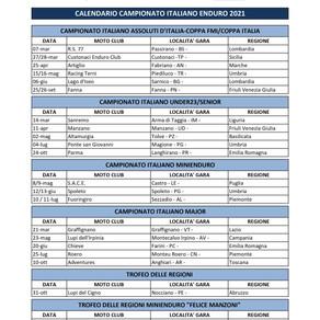 Pubblicato il calendario nazionale Enduro 2021