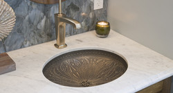 vessel sink, stamped metal bathroom