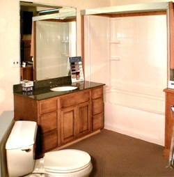 vanity with mirror, shower, & toilet
