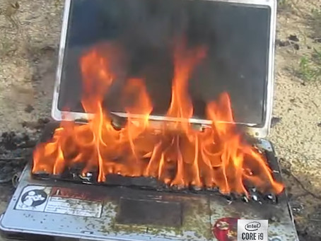 Satire: (pictured) Intel 10th Gen Core i9 mobile laptop with 10 cores after short turbo boost