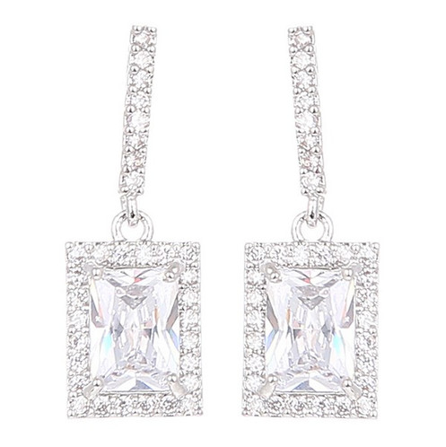 4333321d3 Square Drop Diamante Earrings