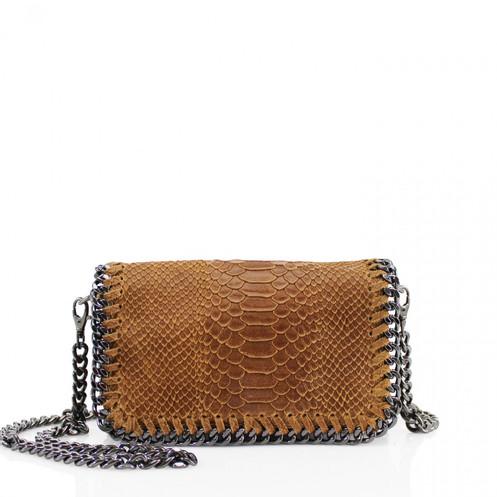 d3b16e9f3f2 Brown Leather Chain Clutch Bag