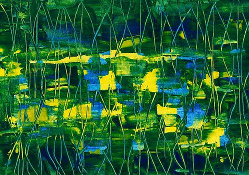Night Pond A4 Print by Caroline Walters
