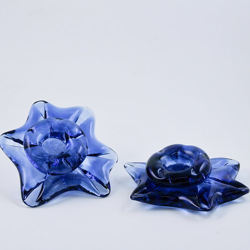 Star Candle Holders: small dark blue (pair)