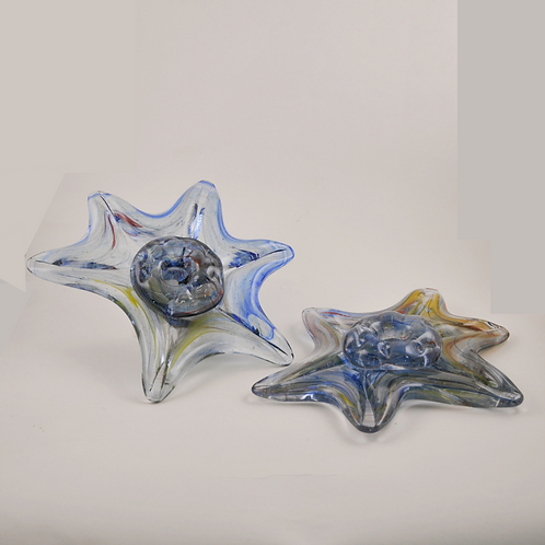 Star Candle Holders: Large, Blue w/Rainbow Swirl (pair)