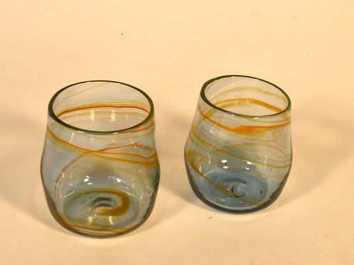 Yellow Swish Wine Glasses (Pair)